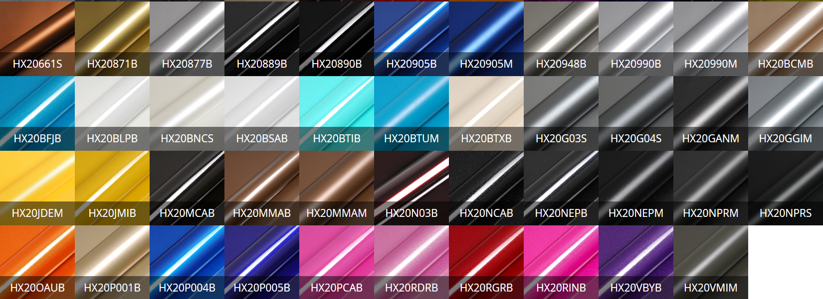 vinyl wrap colours
